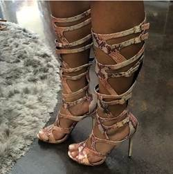 Sexy Snakeskin Cut-Outs Knee High Sandals