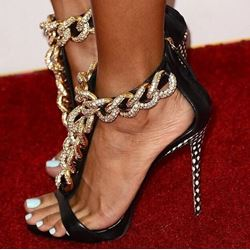 Attractive Black Sheepskin Metal Chain Dress Sandals