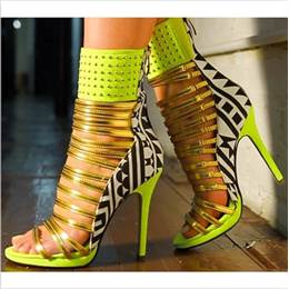 Hot Girl Contrast Color Rivets Ankle Wrap Dress Sandals