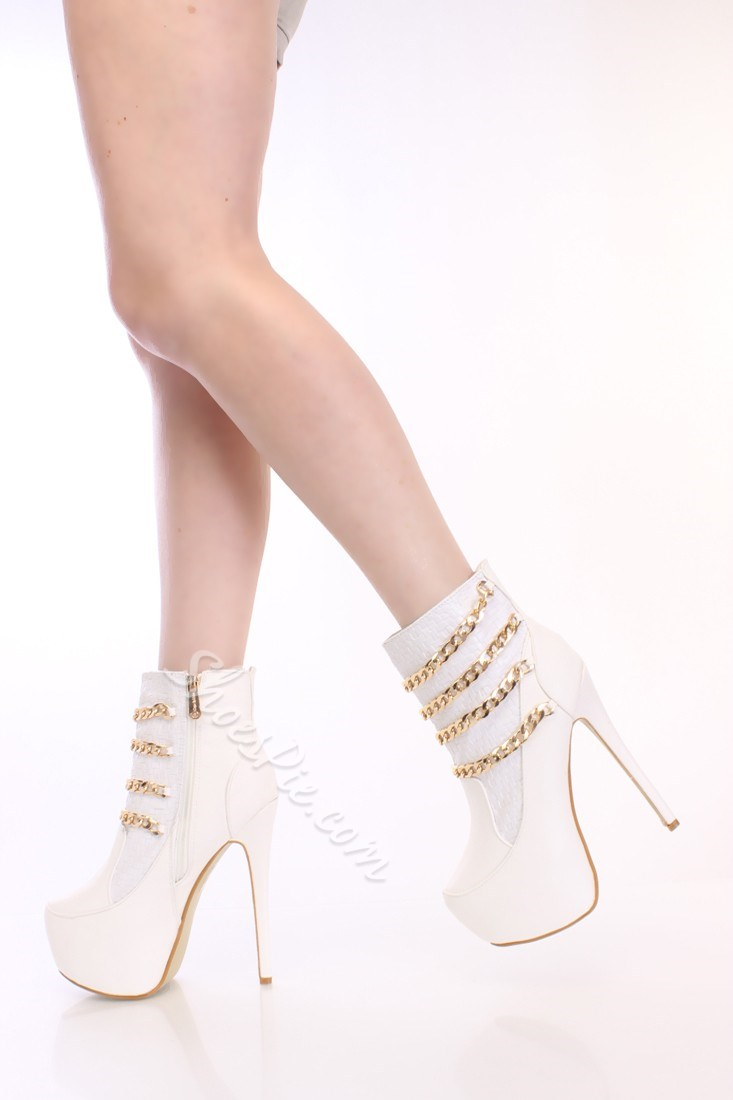 Concise Metal Chains Ankle Boots