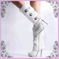 Gorgeous White Fur High Heels Boots