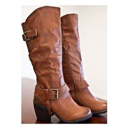 Comfortable Leather Buckle Knee High Boots