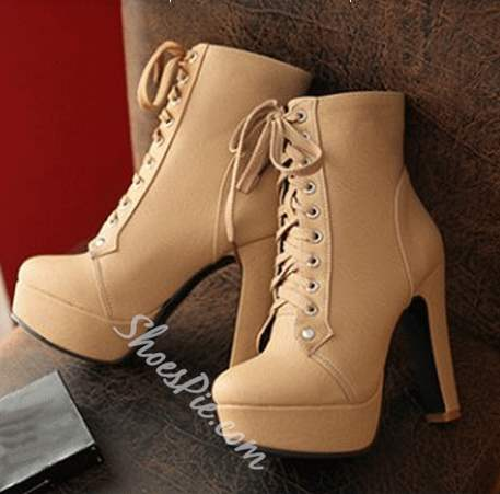 Concise Lace-Up Chunky Heel Ankle Boots