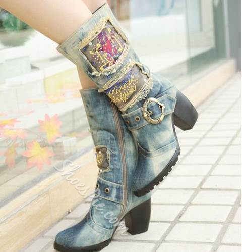 Unique Print Denim Chunky Heel Boots