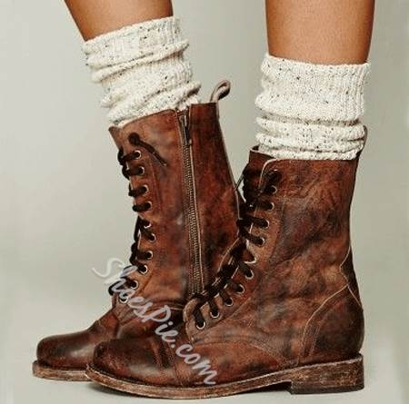 Retro Style Lace-Up Martin Boots with Zipper