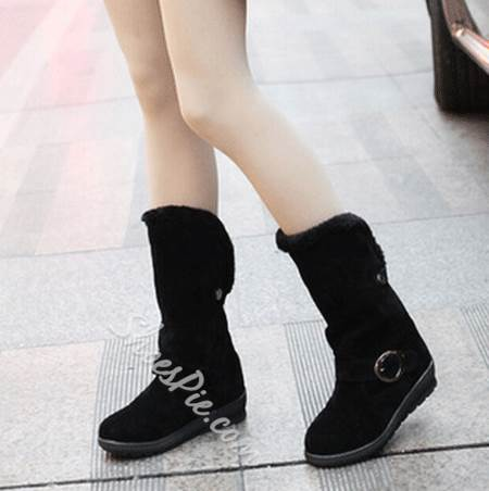 Stylish Buckle Solid Color Snow Boots