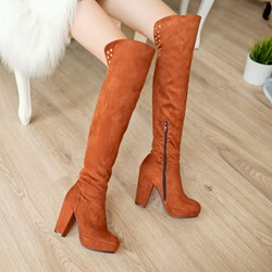 Multicolor Chunky Low Heel Knee High Boots