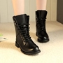 Cool Black Lace-up Chunky Heel Martin Boots