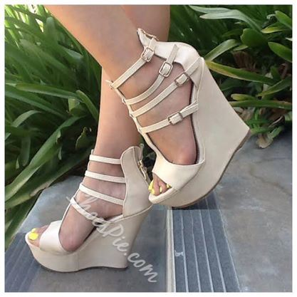 Elegant Beautiful Women Wearing Wedge Sandals