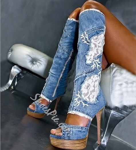 Sexy Denim Flower Print Knee High Boots