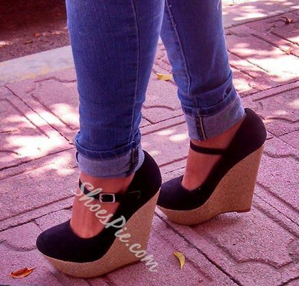 Comfortable Black Ankle Strap Wedge Sandals