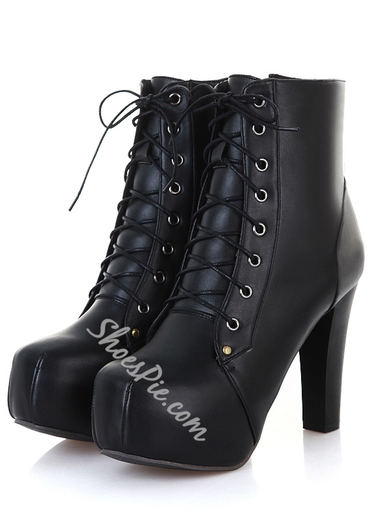 Comfortable Lace-Up Round-Toe Ankle Boots