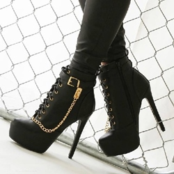 Sexy Black Metal Chain Platform Ankle Boots