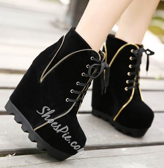 Sexy Contrast Color Lace-Up Wedge Boots
