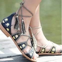 Chic Flower Print Lace-Up Flat Sandals