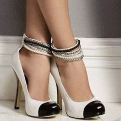 Graceful Beading Ankle Wrap Stiletto Heels