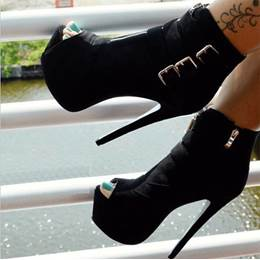 Best Buckles Peep-Toe Ankle Boots