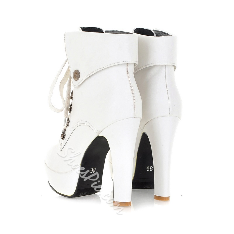 Eurameriacn Style White Lace-up Chunky Heel Boots