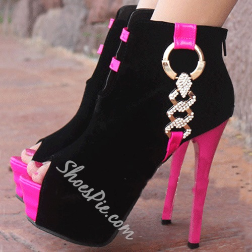 Fashionable Peep Toe Contrast Colour Ankle Boots