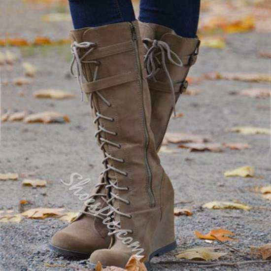 Shoespie Casual Lace-Up Wedge Knee High Boots