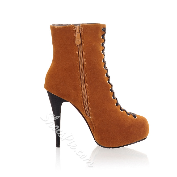 Fascinating Brown Lace-up Stiletto Heel Boots