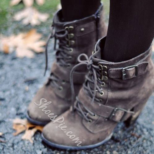 Comfortable Lace-Up Buckle Flat Boots