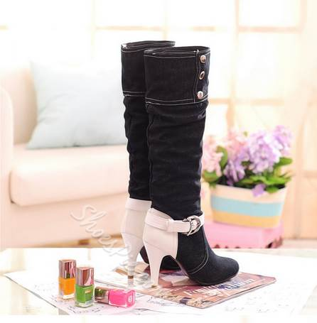 Sexy Contrast Color Buckle Knee High Boots