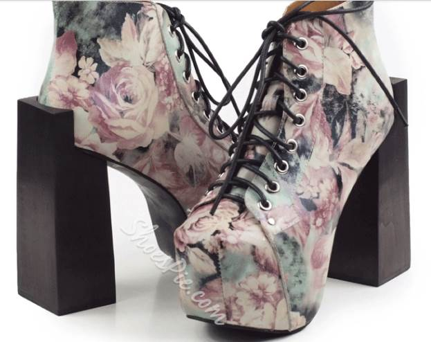 New Arrival Graffiti Chunky Heel Thick Platform Martin Boots with Flower Print Decoration