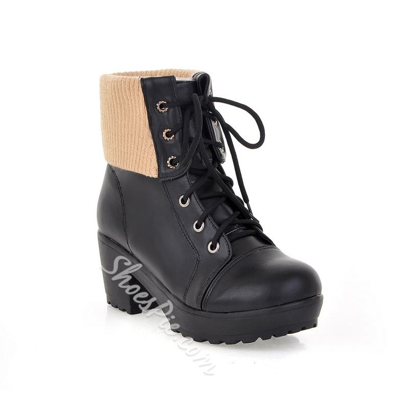 New Arrival Black Matching Knitted Ankle Boots- Shoespie.com