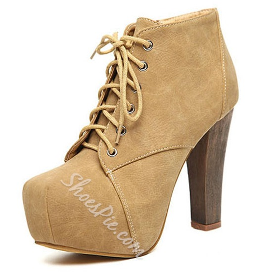 Popular Apricot Platform Chunky Heels Ankle Boots- Shoespie.com