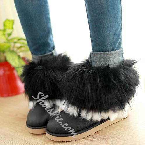 Warm Fur Decoration Snow Boots