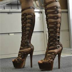 Amazing Cut-Outs Knee High Sandals