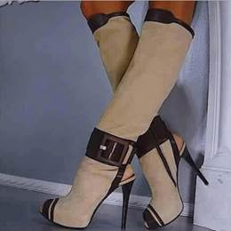 Classic Buckle Cut-Outs Knee High Boots