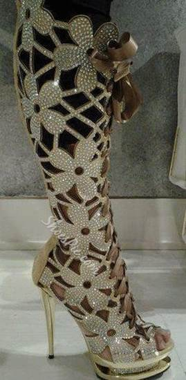 Gorgeous Rhinestone Cut-Outs Knee High Boots