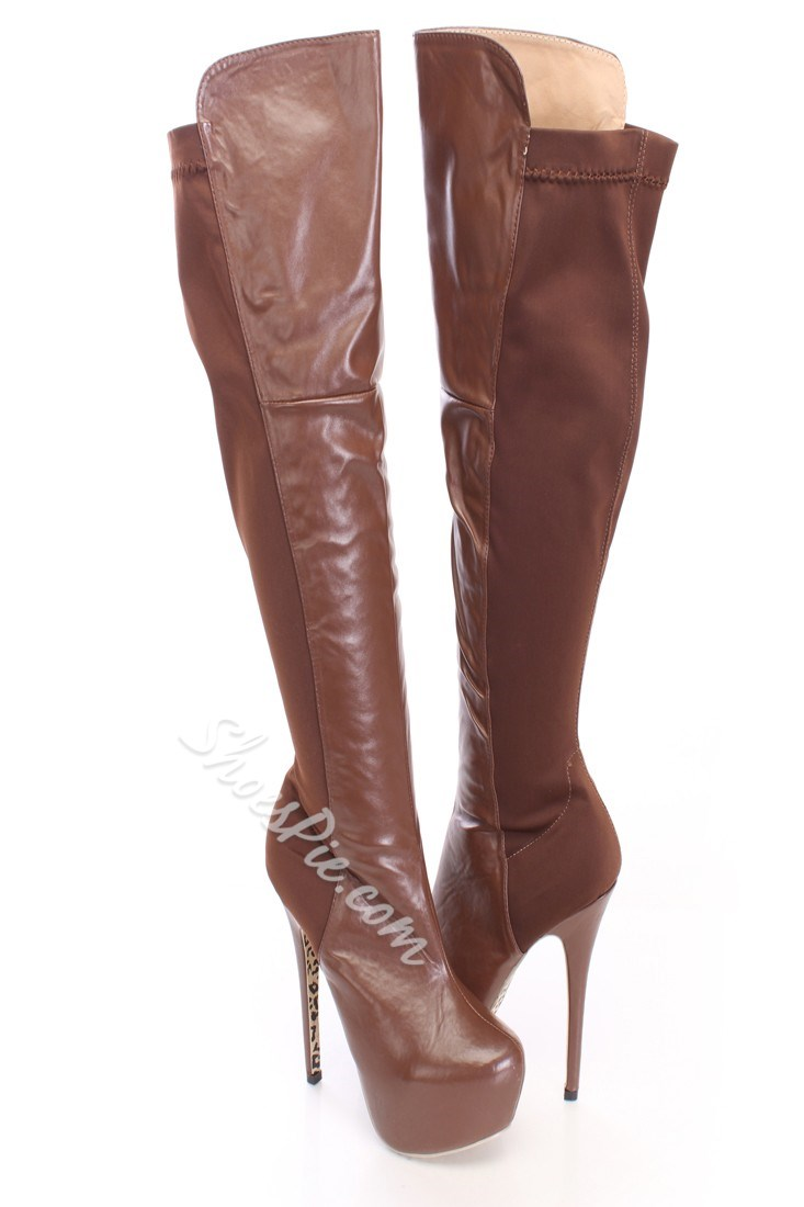 Amazing Contrast Color Platform Knee High Boots