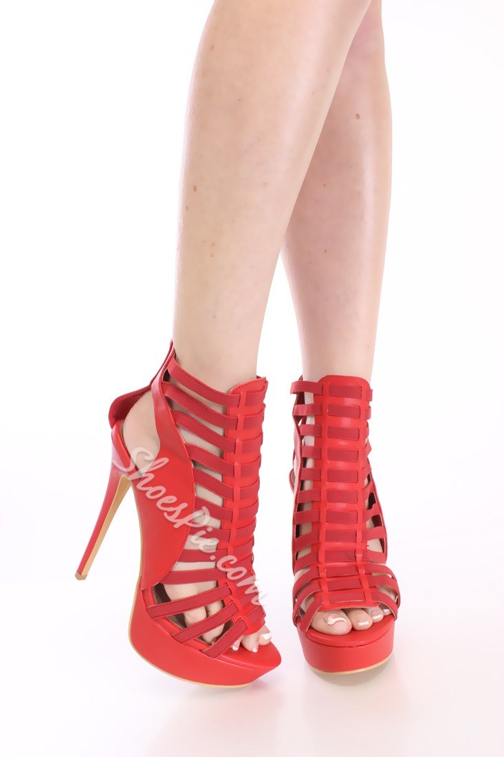 Sexy Pink Cut-Outs Platform Sandals