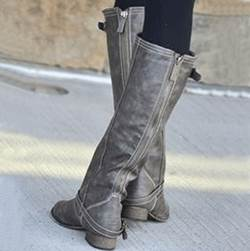 Stylish Knee High Flat Boots with Back Zipper