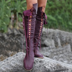Gypsy Lace-Up Knee High Flat Boots
