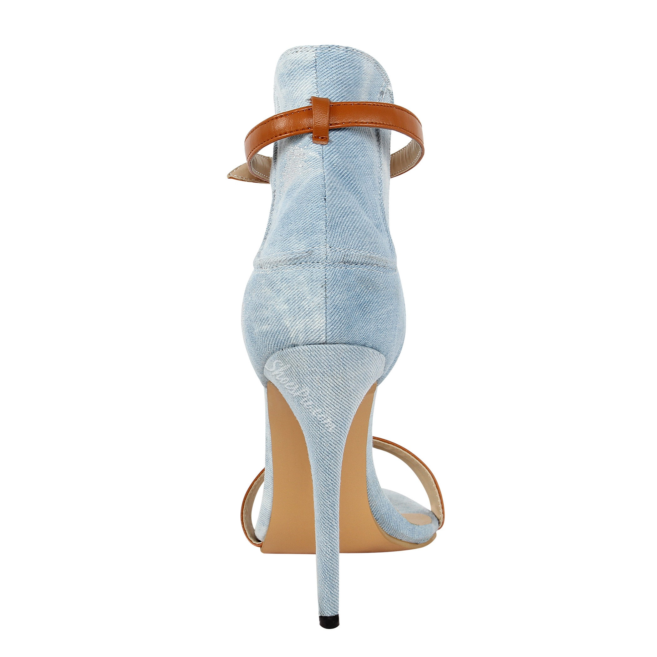 Stylish Denim Ankle Strap Stiletto Sandals