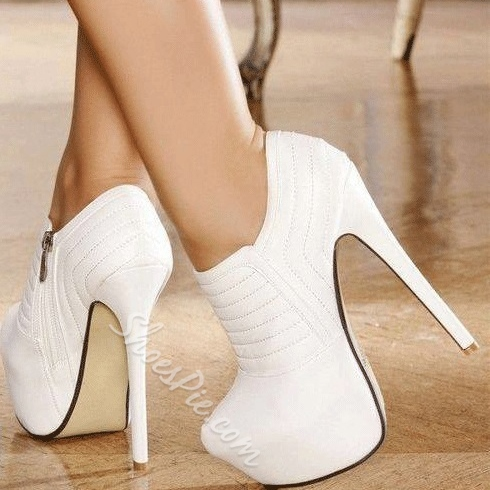 Shoespie Elegant White Closed-Toe Platform Ankle Boots- Shoespie.com