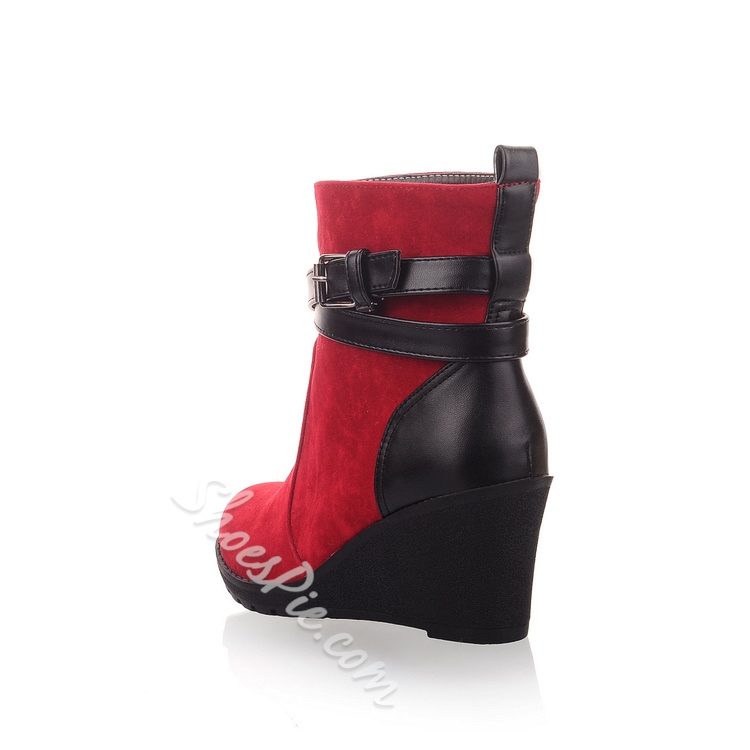 Amazing Contrast Color Buckles Ankle Boots
