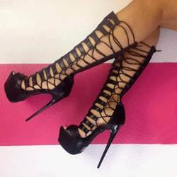 Sexy Cut-Outs Black Platform Gladiator Sandals