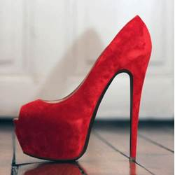 Graceful Red Platform Pee-Toe Heels