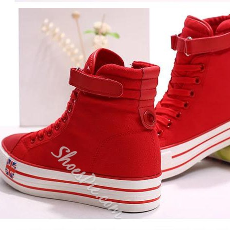 Sweet Solid Color High-top Canvas Shoes