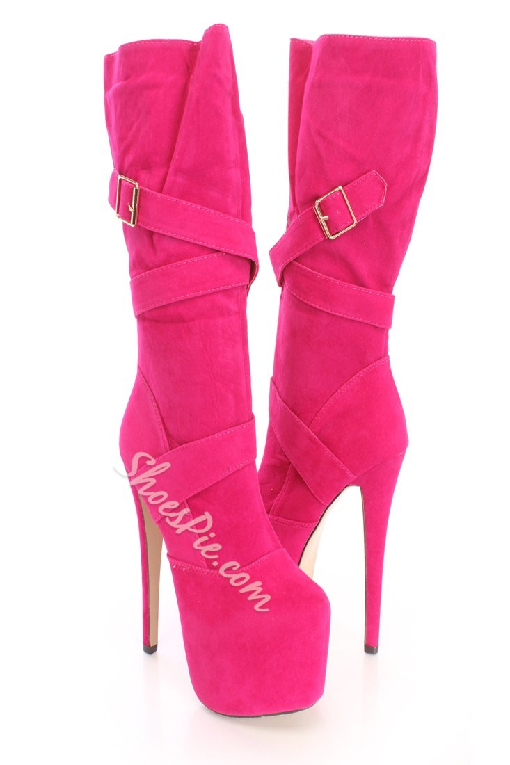 Amazing Buckle Mid-Calf High Heels Boots