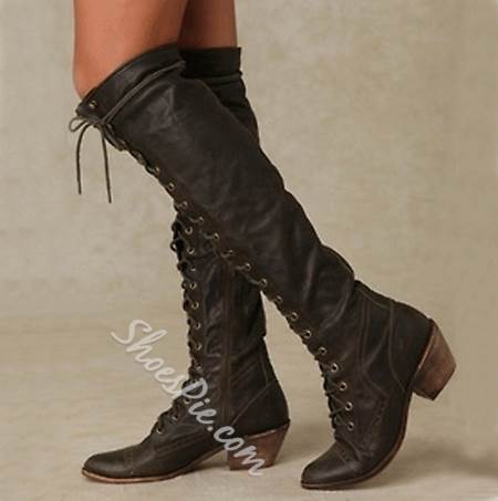 Outdoor Wearing Lace-Up Knee High Boots
