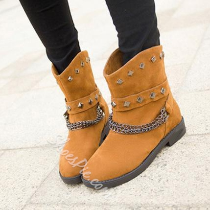Comfortable Snow Boots With Rivets And Chains Decoration