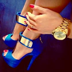 Gorgeous Blue Ankle Strap Pee-toe Heels