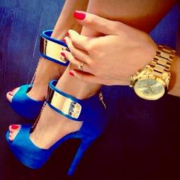 Gorgeous Blue Ankle Strap Pee-toe Heel
