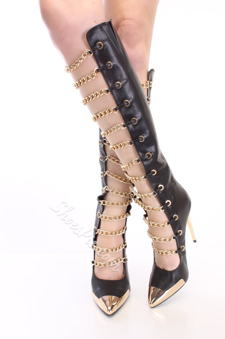 Party Girl Metal Chain Strap Knee High Boots